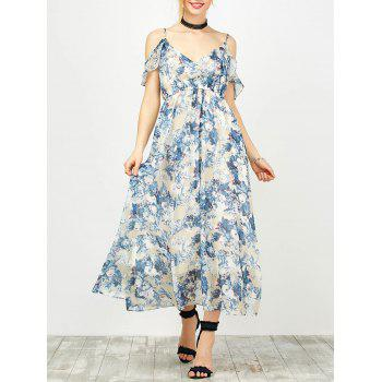 Floral Print Ruffle Cold Shoulder Cami Dress