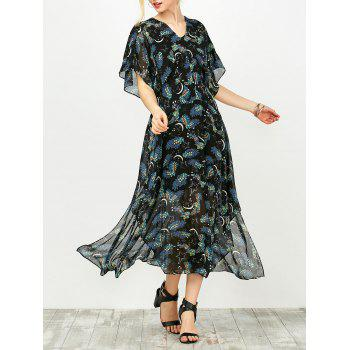 Star Floral Print Asymmetric Chiffon Dress