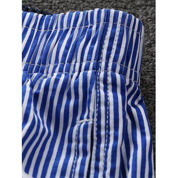 Stripes Drawstring Waist Board Shorts - DEEP BLUE XL