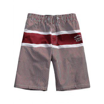 Stripes Drawstring Waist Board Shorts