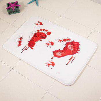 Bloodstain Footprint Absorbent Bathroom Area Rug - RED/WHITE 40*60CM