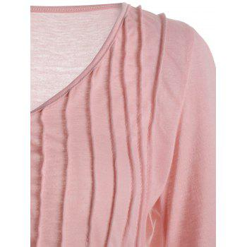 Lace Trim V Neck Top - PINK L