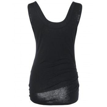 Shirred Tie Side Tank Top - BLACK 2XL