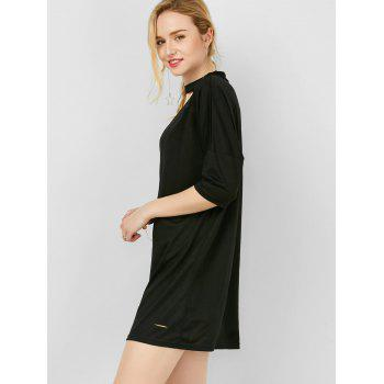 High Neck Ripped Mini Shift Dress - BLACK L