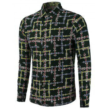Buy Maze Printing Pluse Size Shirt BLACKISH GREEN