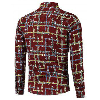 Maze Printing Pluse Size Shirt - RED 6XL