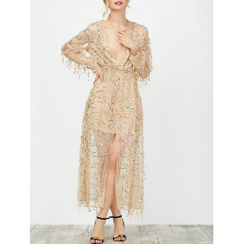 Plunging Neck Sheer Sequins Slit Dress
