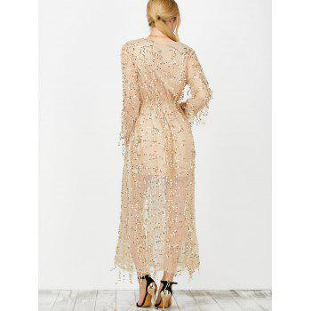 Plunging Neck Sheer Sequins Slit Dress - APRICOT M