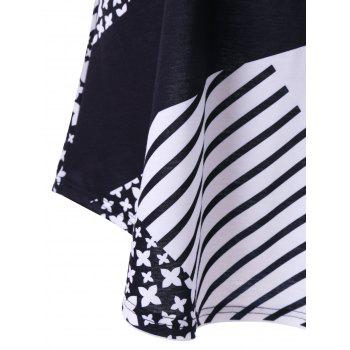Plus Size Striped with Floral Longline T-Shirt - WHITE/BLACK XL