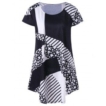 Plus Size Striped with Floral Longline T-Shirt