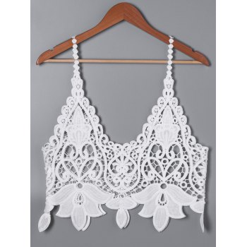 Buy Lace Cutwork Short Tank Top WHITE