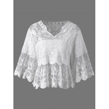 Floral Cutwork Sheer Blouse