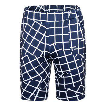 Checked Panel Elastic Waist Board Shorts