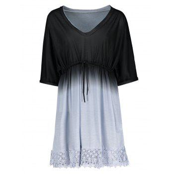Plus Size Dolman Sleeve Ombre Cover Up Dress