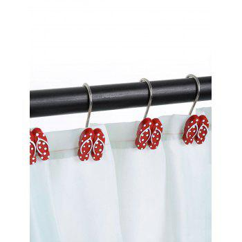 12 Pcs Beach Polka Dot Flip Flops Shape Shower Curtain Hooks