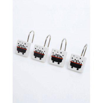 12 Pcs Resin Bubble Bath Print Shower Curtain Hooks -  BLACK WHITE