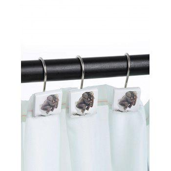 12 Pcs Elephant on Toilet Print Shower Curtain Hooks -  BROWN