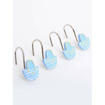 12 Pcs Cute Basket Shape Shower Curtain Hooks -  ICE BLUE
