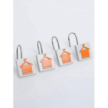 12 Pcs Hanger Towel Print Bath Shower Curtain Hooks -  ORANGE