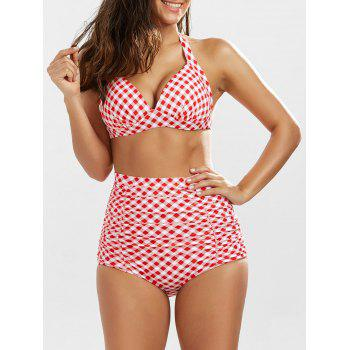 High waisted, ruched retro bikini