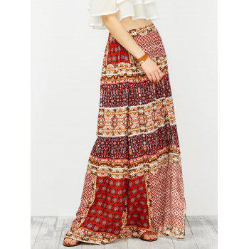Ornate Print Slit High Waisted Maxi Skirt - COLORMIX L