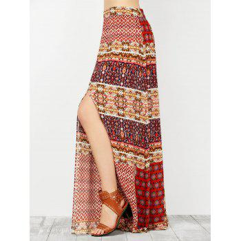 Ornate Print Slit High Waisted Maxi Skirt