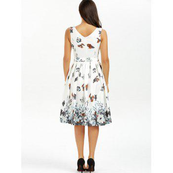 Belted Sleeveless Floral Printed Dress - WHITE XL