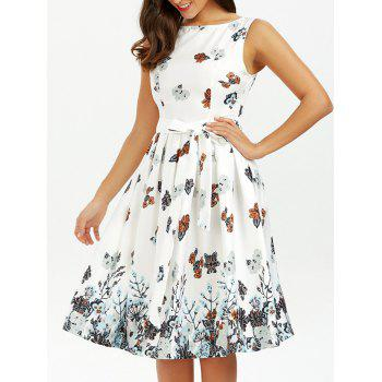 Belted Sleeveless Floral Printed Dress