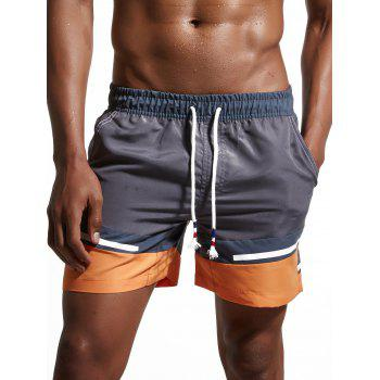Zipper Pockets Color Block Panel Swimming Shorts