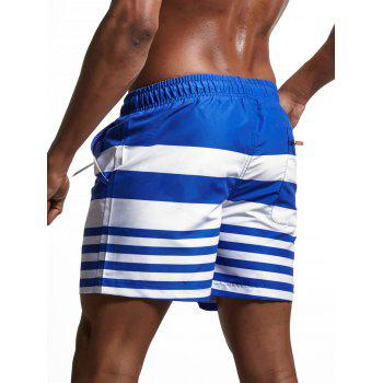 Lace Up Stripes Panel Swimming Shorts - BLUE BLUE