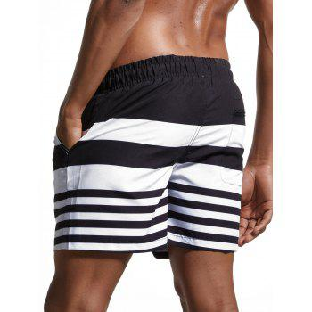 Lace Up Stripes Panel Swimming Shorts - BLACK BLACK