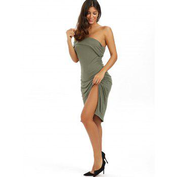 Ruched One Shoulder Low Cut Bodycon Bandage Dress - GREEN XS