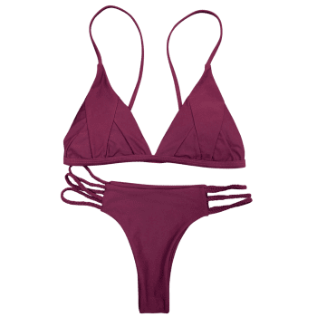 Spaghetti Strap Padded Bikini Set - PURPLISH RED S
