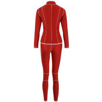 High Neck Zip Surf Dive Swimsuit - RED XL