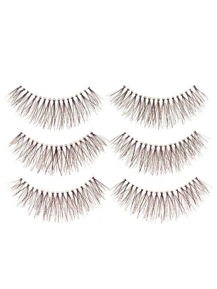 3 Pairs Fake Eyelashes with Glue - BLACK