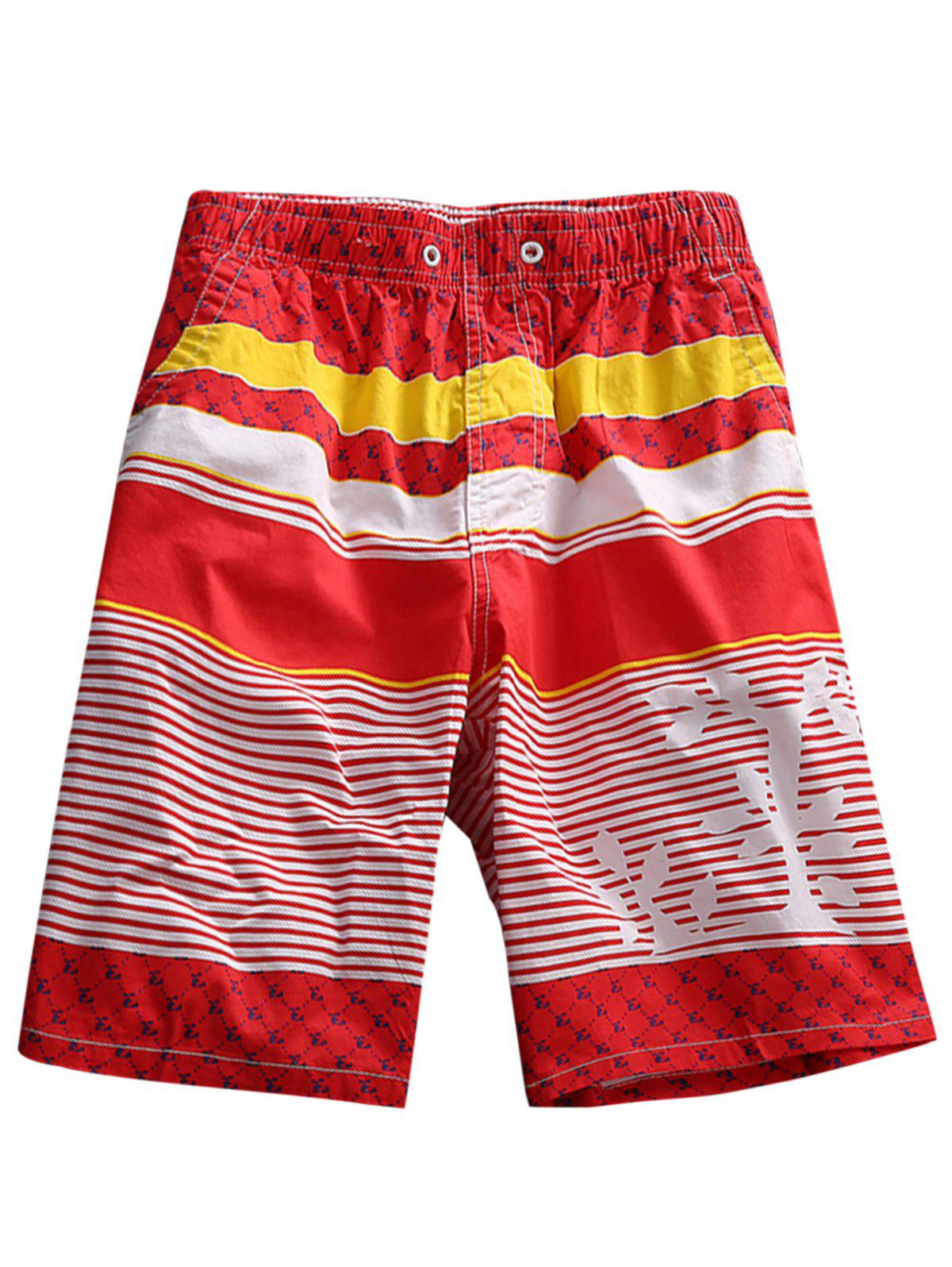 Tree Graphic Stripe Board Shorts - RED XL