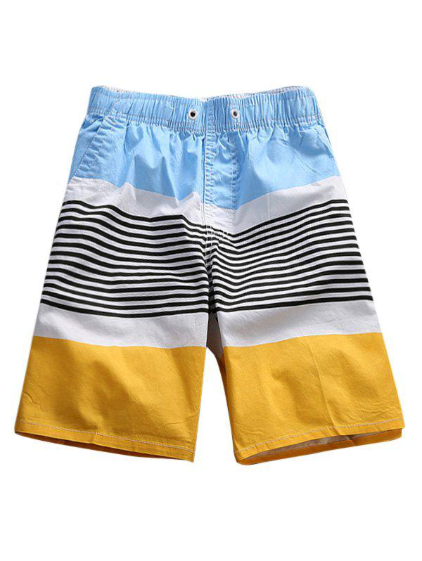 Color Block Stripes Board Shorts - YELLOW 3XL