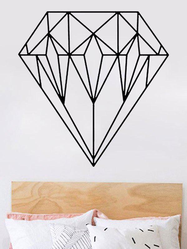 Waterproof Geometric Diamond Print Wall Sticker - BLACK 43*44CM