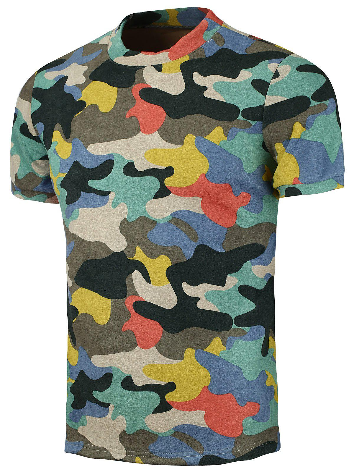 Camo Crew Neck Short Sleeve T-Shirt - COLORMIX XL