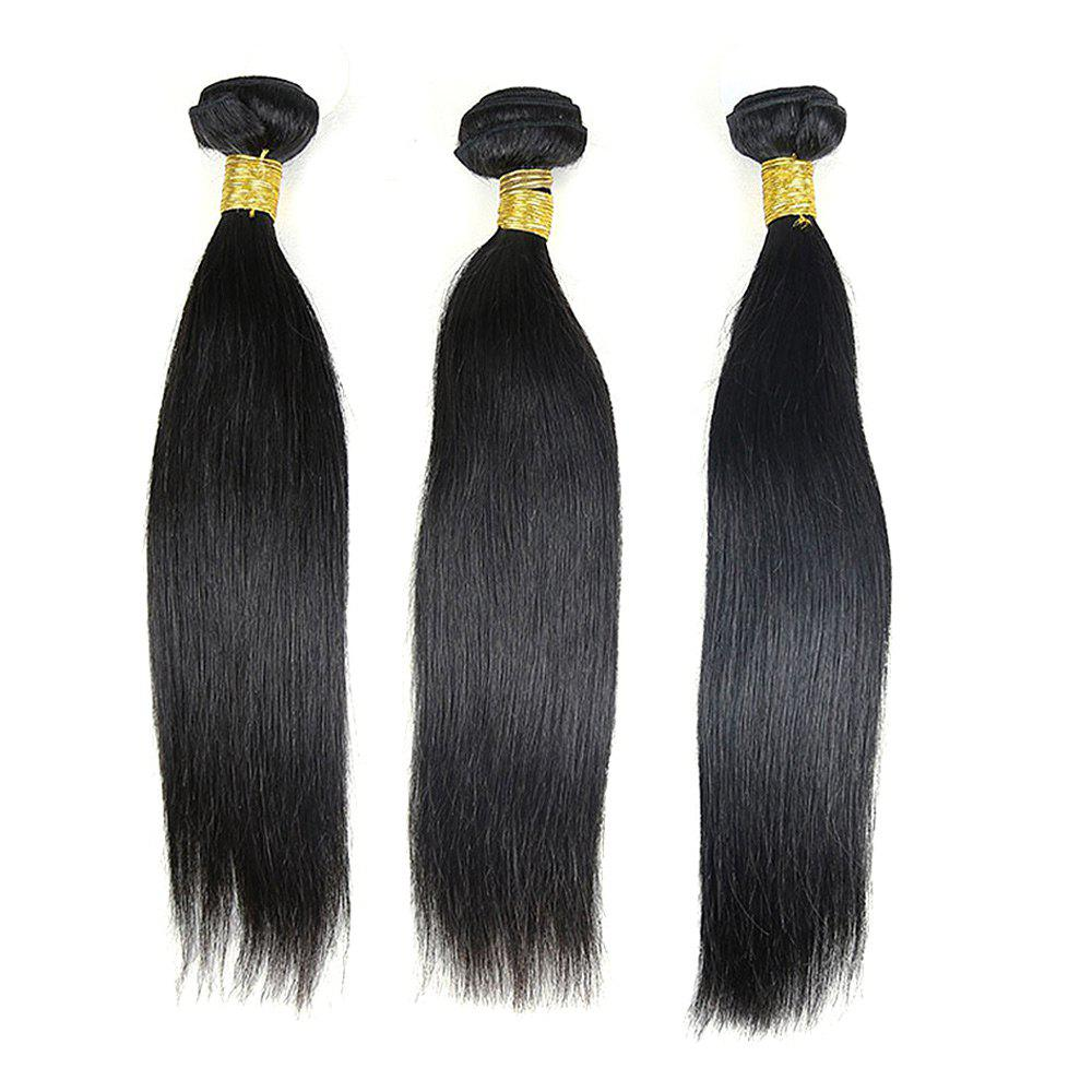 3 Pcs Straight Dyeable Brazilian Virgin Human Hair Weave - NATURAL COLOR 12INCH*14INCH*16INCH
