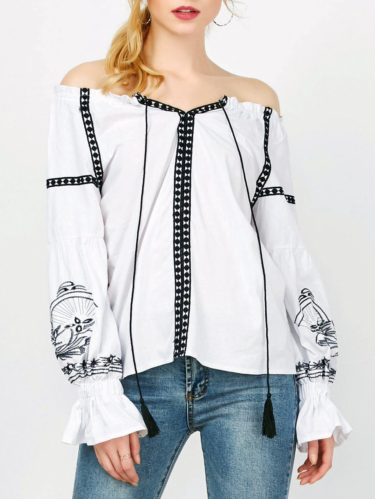 Off The Shoulder Embroidered Long Sleeve Top - WHITE M