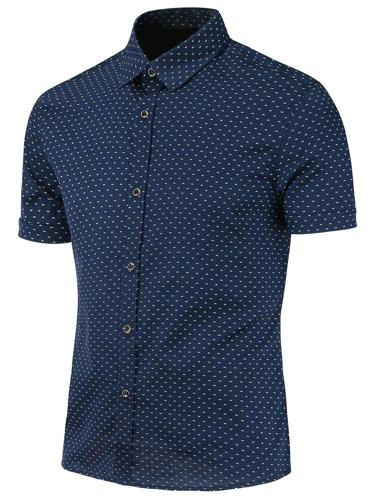 Print Short Sleeve Shirt - BLUE 4XL