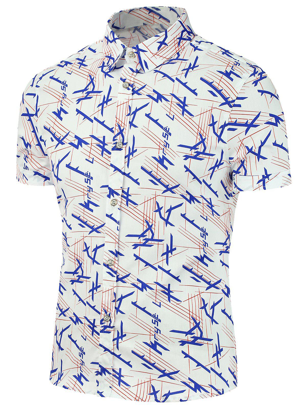 All Over Print Short Sleeve Shirt - WHITE 5XL