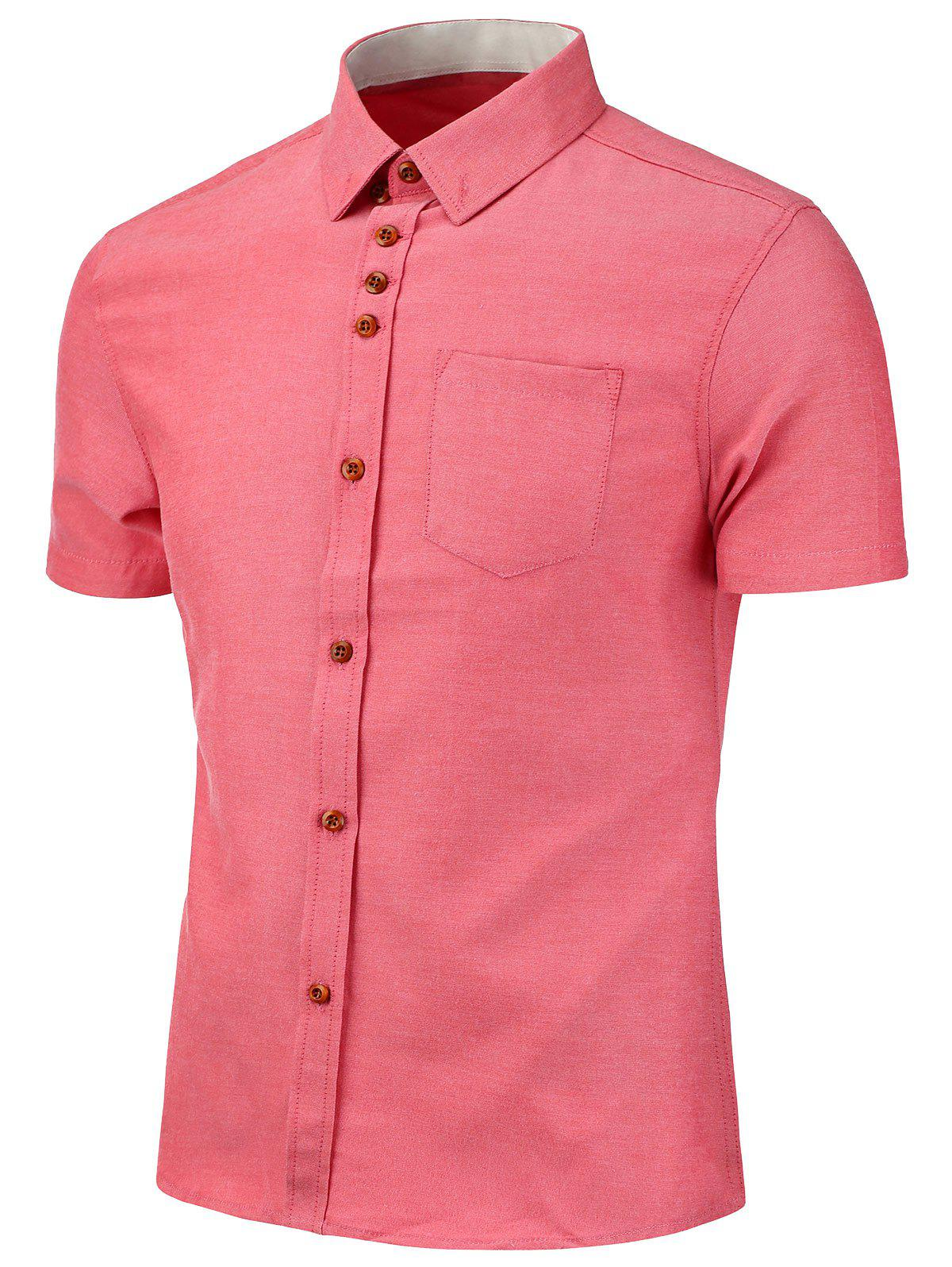 Button Down Short Sleeve Shirt - WATERMELON RED L