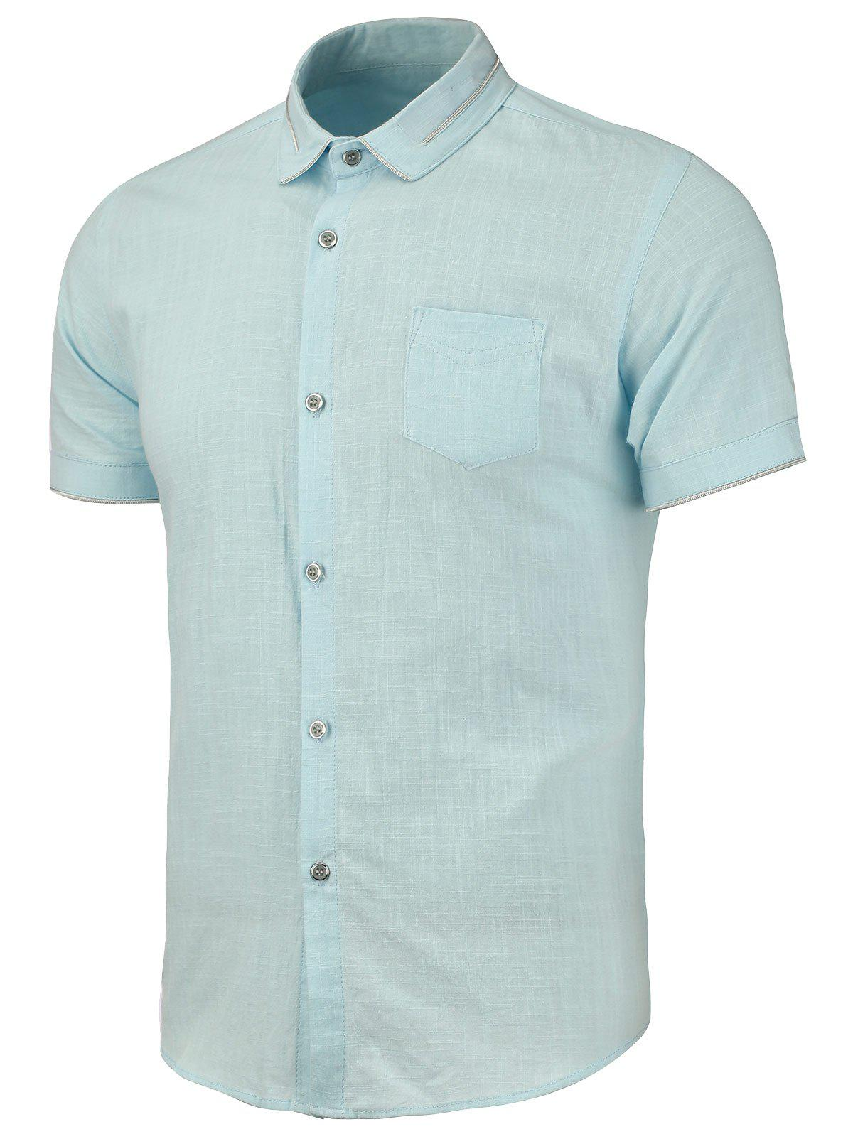 Pocket Short Sleeve Shirt - AZURE L