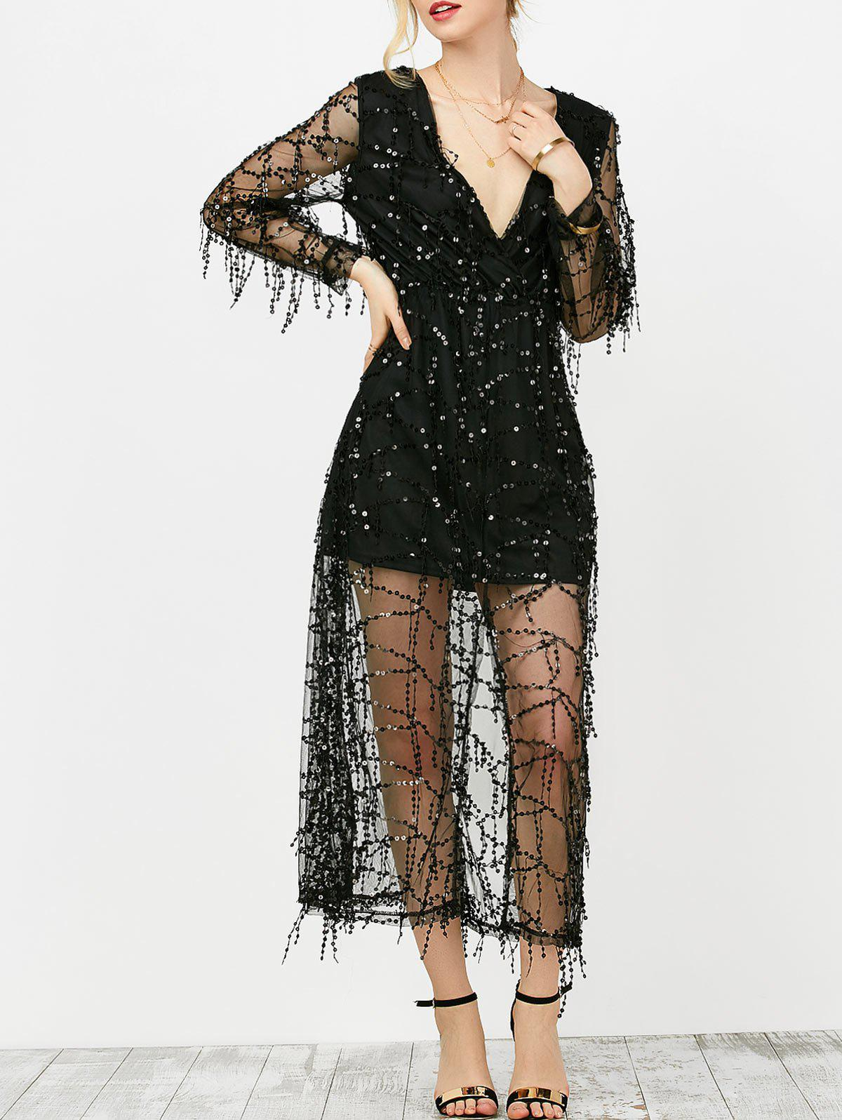 Plunging Neck Sheer Sequins Slit Dress - Noir L