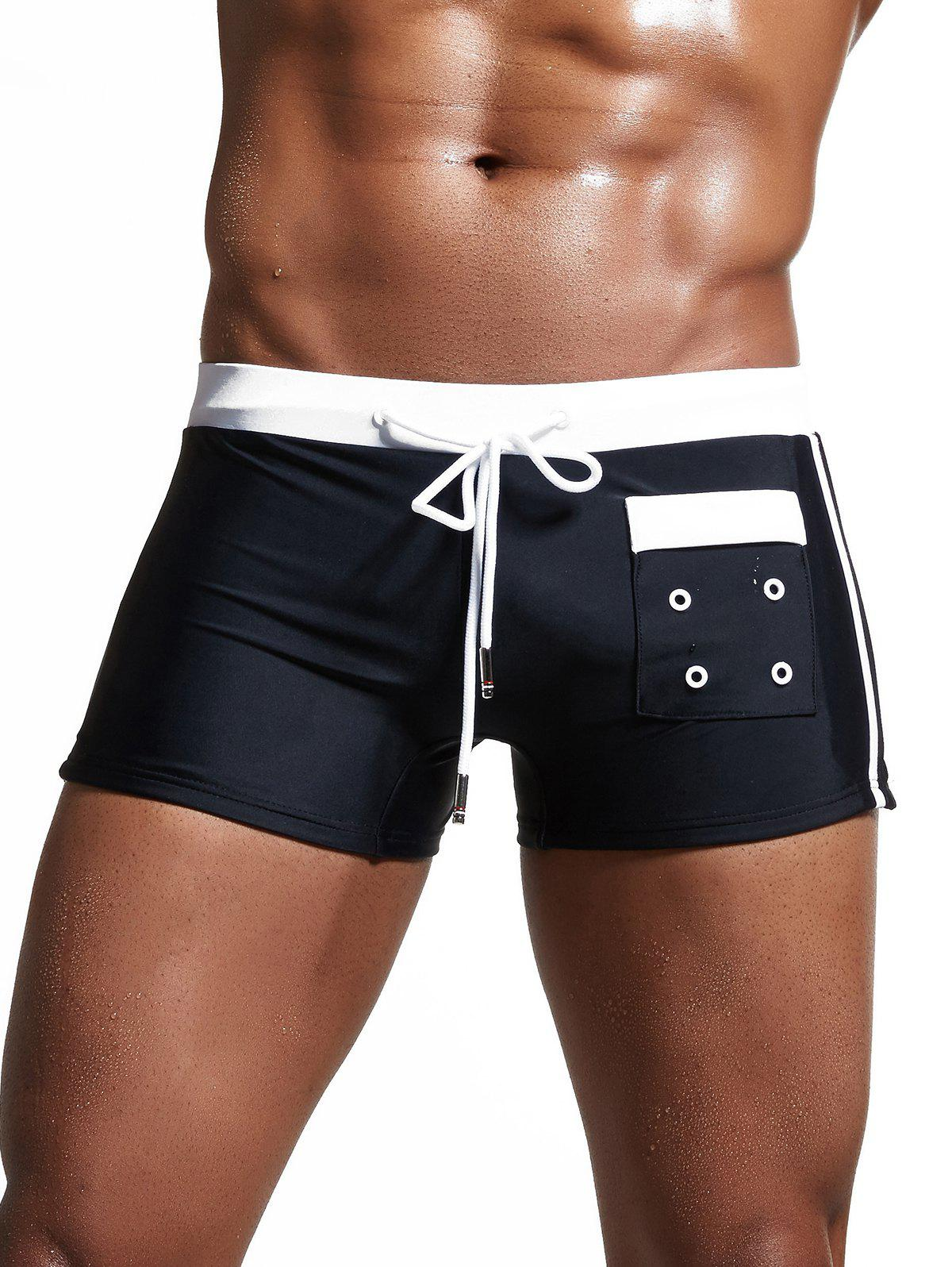 Lace Up Pocket Embellished Swimming Trunks - BLACK L