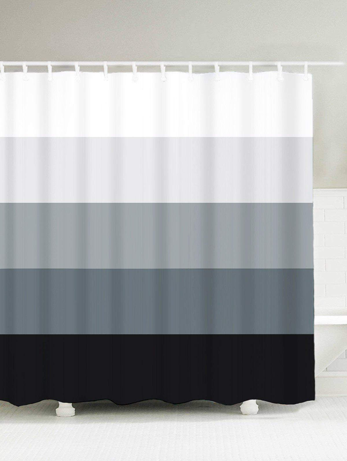 Gradient Striped Water Resistant Bath Decor Shower Curtain wood val far from home