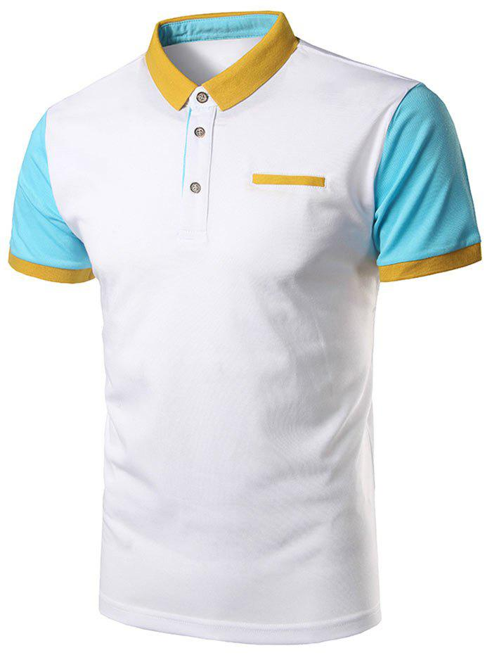 Color block faux pocket polo shirt windsor blue l in t for Polo color block shirt