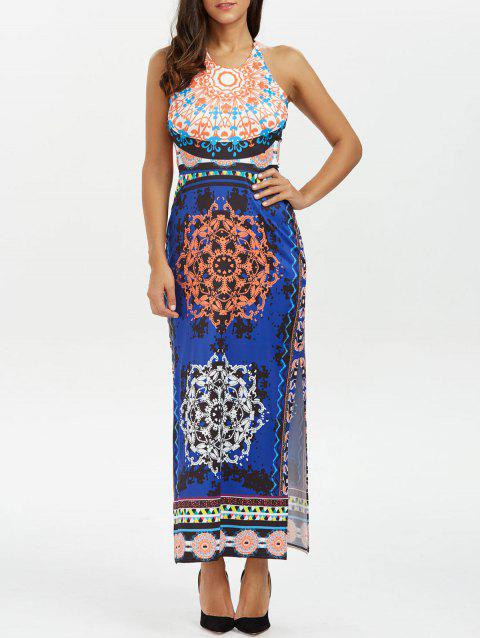 Backless Halter Neck Tribal Print Boho Longue Robe - Bleu profond XL